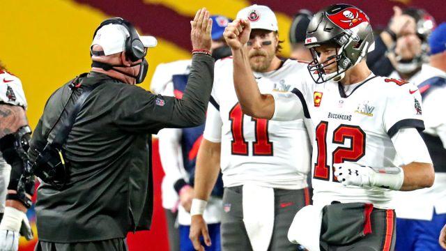 Tampa Bay Buccaneers head coach Bruce Arians and quarterback Tom Brady