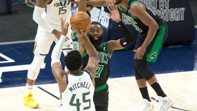 Utah Jazz guard Donovan Mitchell, Boston Celtics guard Jaylen Brown