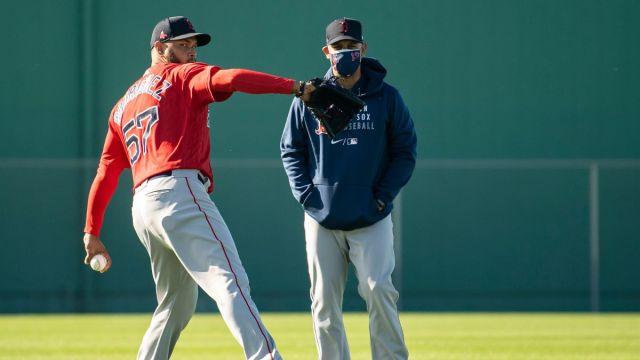 Boston Red Sox pitcher Eduardo Rodriguez and manager Alex Cora