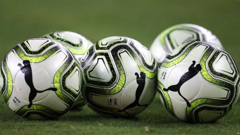 General view of soccer balls