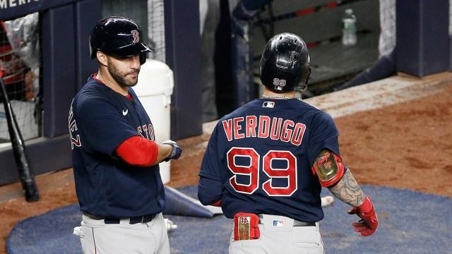 Boston Red Sox designated hitter J.D. Martinez, Outfielder Alex Verdugo