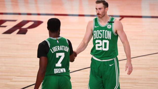 Boston Celtics guard Jaylen Brown, Charlotte Hornets forward Gordon Hayward