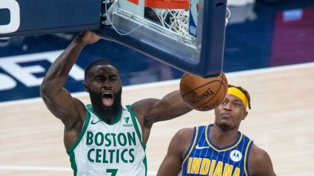 Boston Celtics guard Jaylen Brown and Indiana Pacers center Myles Turner