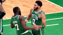 Boston Celtics players Jaylen Brown, Jayson Tatum