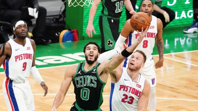 Boston Celtics forward Jayson Tatum, Detroit Pistons forward Blake Griffin