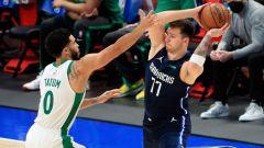 Boston Celtics forward Jayson Tatum And Dallas Mavericks guard Luka Doncic