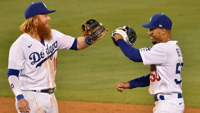 Los Angeles Dodgers third baseman Justin Turner, outfielder Mookie Betts