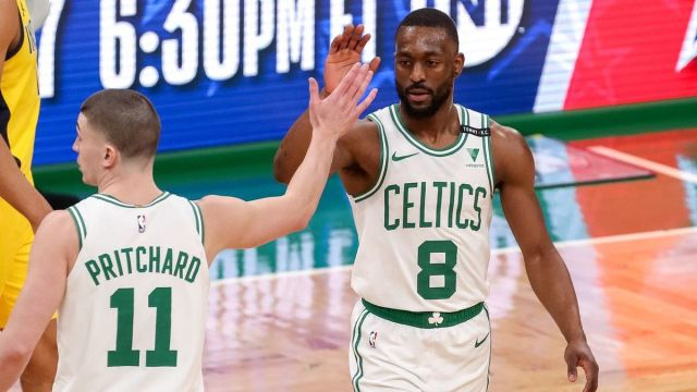 Boston Celtics guards Payton Pritchard, Kemba Walker