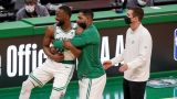 Boston Celtics guard Kemba Walker, center Tristan Thompson, coach Brad Stevens