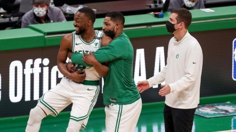 Boston Celtics guard Kemba Walker, center Tristan Thompson, coach Brad Stevens