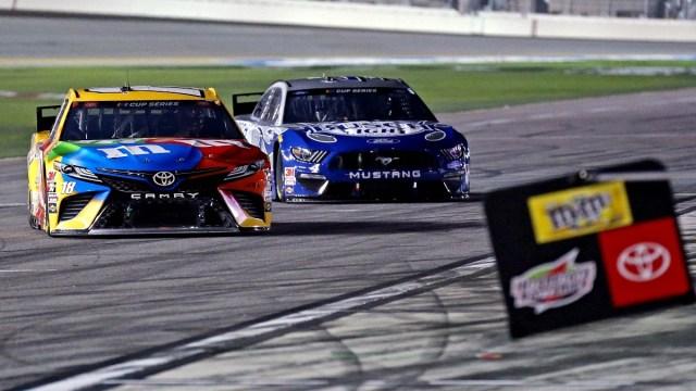 NASCAR Cup Series driver Kyle Busch (18) and NASCAR Cup Series driver Kevin Harvick (4)