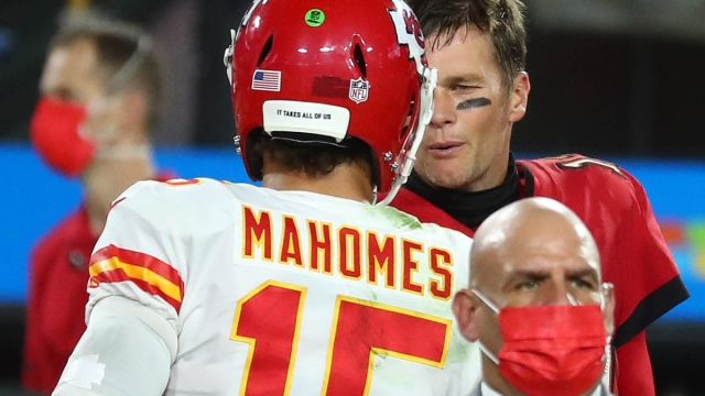 Kansas City Chiefs quarterback Patrick Mahomes (15) and Tampa Bay Buccaneers quarterback Tom Brady (12)