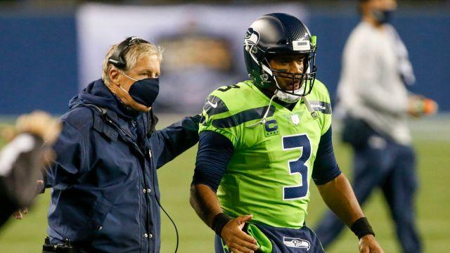 Seattle Seahawks head coach Pete Carroll, quarterback Russell Wilson