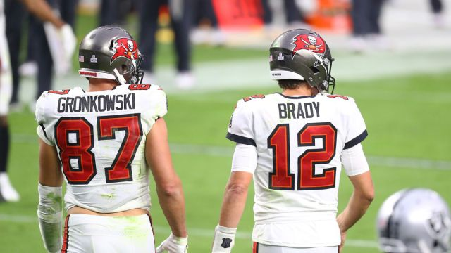 Tampa Bay Buccaneers tight end Rob Gronkowski, quarterback Tom Brady