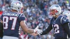 Buccaneers tight end Rob Gronkowski, QB Tom Brady