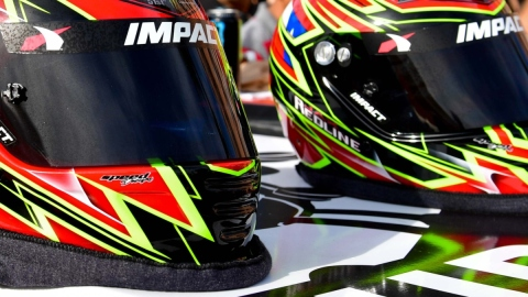 General view of racing helmets