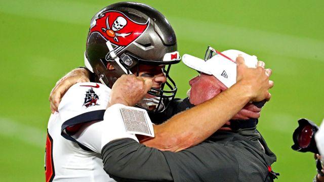 Tampa Bay Buccaneers quarterback Tom Brady and head coach Bruce Arians