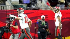 Tampa Bay Buccaneers quarterback Tom Brady, wide receiver Mike Evans