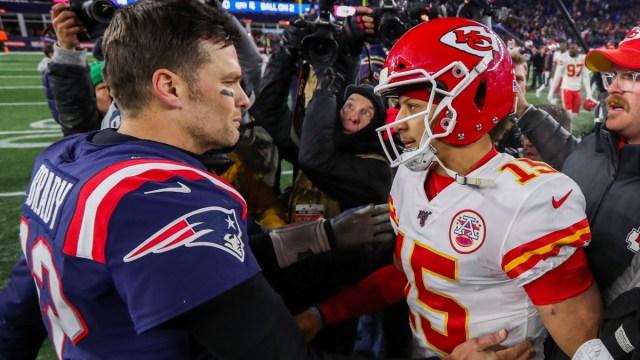 New England Patriots quarterback Tom Brady, Kansas City Chiefs quarterback Patrick Mahomes