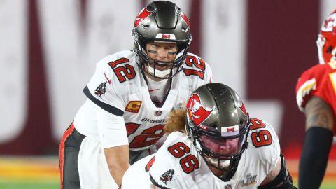 Tampa Bay Buccaneers quarterback Tom Brady and center Ryan Jensen