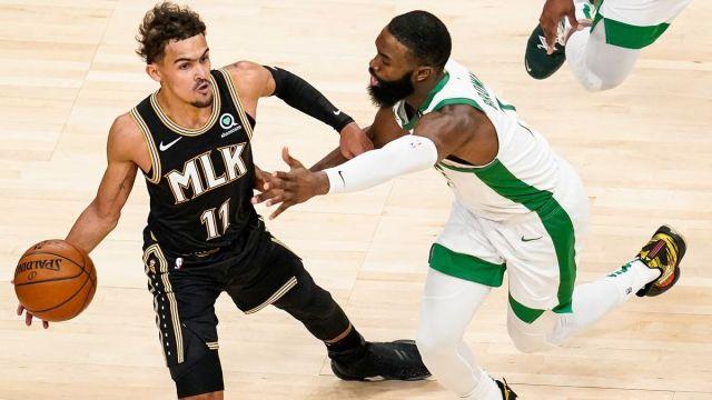 Atlanta Hawks guard Trae Young And Boston Celtics guard Jaylen Brown