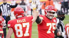 Kansas City Chiefs tight end Travis Kelce and tackle Mike Remmers