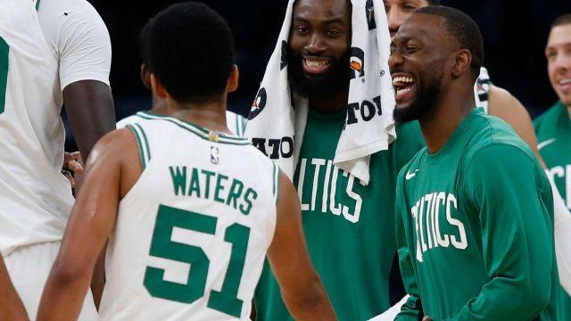 Boston Celtics guards Tremont Waters, Kemba Walker