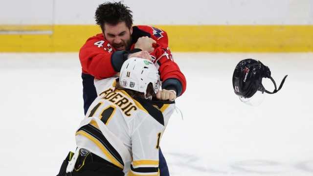 Boston Bruins forward Trent Frederic, Washington Capitals winger Tom Wilson