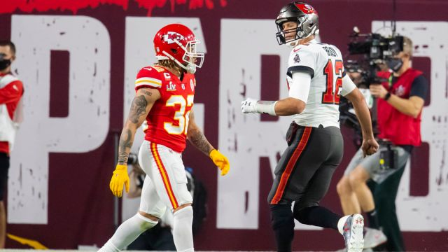 Kansas City Chiefs safety Tyrann Mathieu and Tampa Bay Buccaneers quarterback Tom Brady