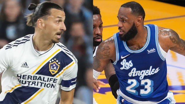 Soccer player Zlatan Ibrahimovic, Los Angeles Lakers forward LeBron James