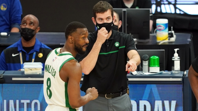 Boston Celtics head coach Brad Stevens, guard Kemba Walker