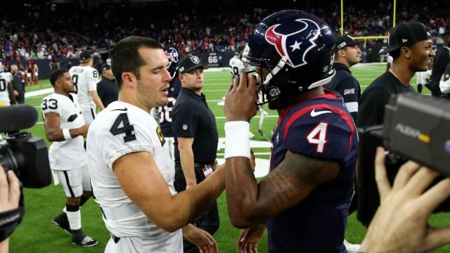 Houston Texans quarterback Deshaun Watson, Las Vegas Raiders quarterback Derek Carr