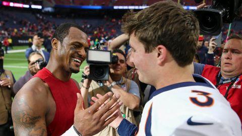 Broncos quarterback Drew Lock and Texans quarterback Deshaun Watson