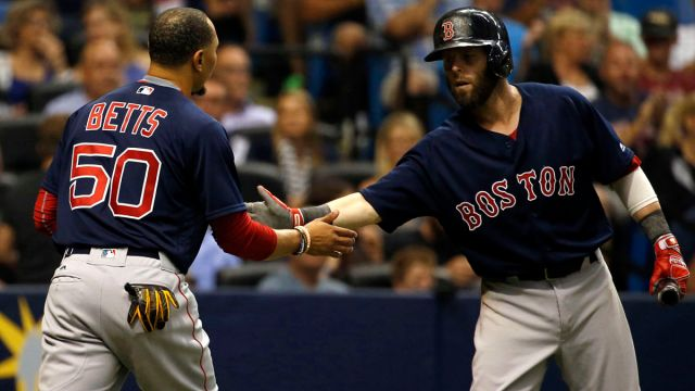 Los Angeles Dodgers outfielder Mookie Betts and former Boston Red Sox second baseman Dustin Pedroia