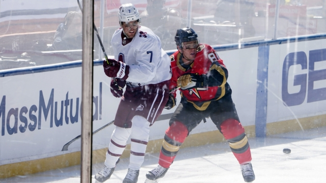 Colorado Avalanche defenseman Devon Toews, Vegas Golden Knights center Jonathan Marchessault