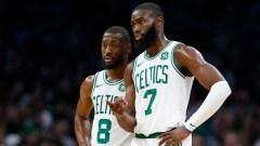 Boston Celtics point guard Kemba Walker, Jaylen Brown