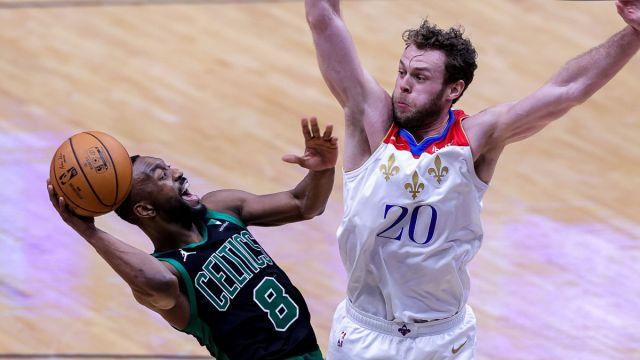 Boston Celtics guard Kemba Walker and New Orleans Pelicans forward Nicolo Melli