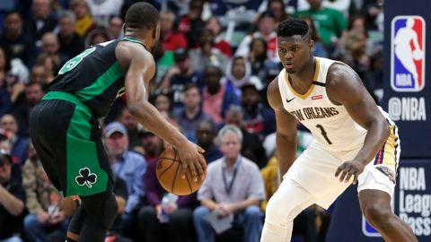 Boston Celtics guard Kemba Walker and New Orleans Pelicans forward Zion Williamson