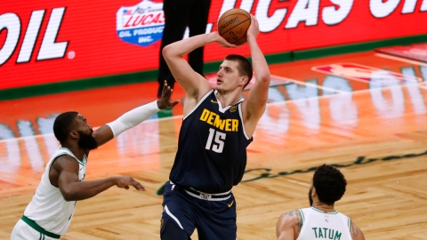 Denver Nuggets center Nikola Jokic, Boston Celtics guard Jaylen Brown