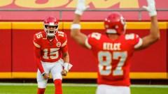 Kansas City Chiefs quarterback Patrick Mahomes, tight end Travis Kelce