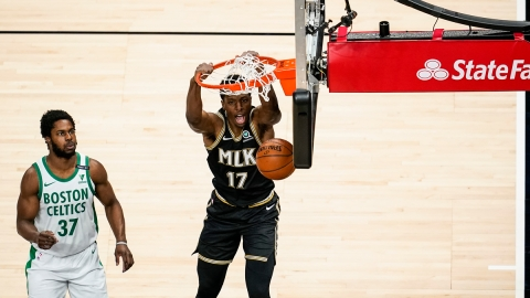 Atlanta Hawks forward Onyeka Okongwu, Boston Celtics' Semi Ojeleye