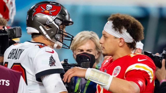 Tampa Bay Buccaneers quarterback Tom Brady and Kansas City Chiefs quarterback Patrick Mahomes