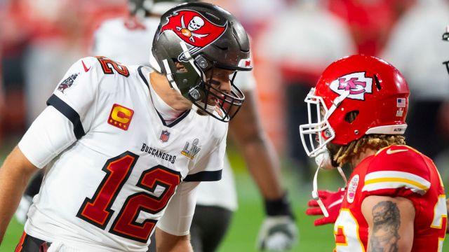 Tom Brady and Tyrann Mathieu in Super Bowl LV