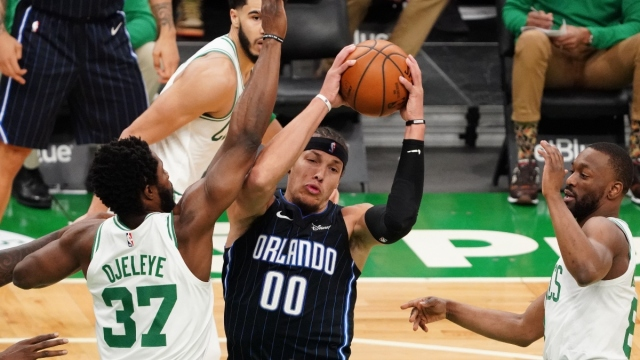 Orlando Magic forward Aaron Gordon (00) and Boston Celtics forward Semi Ojeleye (37)