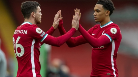 Liverpool defenders Andrew Robertson and Trent Alexander-Arnold (left)