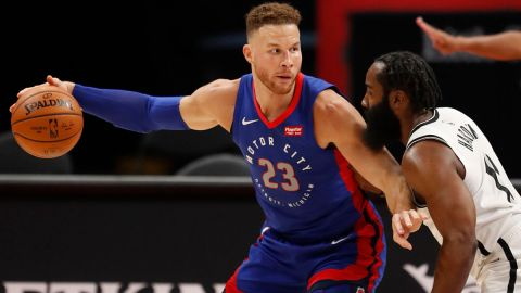 Detroit Pistons center Blake Griffin, Brooklyn Nets guard James Harden