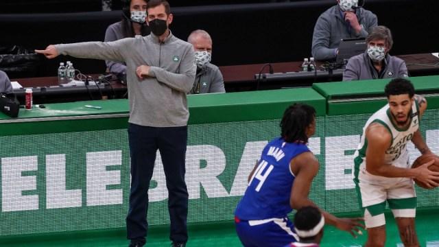 Boston Celtics head coach Brad Stevens (L)