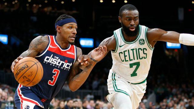 Washington Wizards guard Bradley Beal, Boston Celtics guard Jaylen Brown