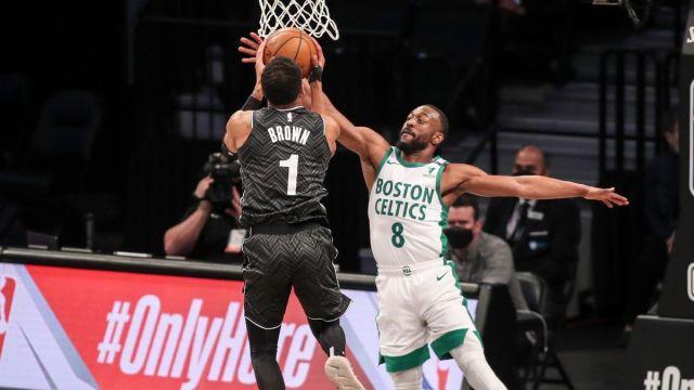 Brooklyn Nets guard Bruce Brown, Boston Celtics guard Kemba Walker