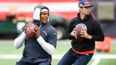 Patriots quarterbacks Cam Newton, Jarrett Stidham